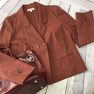 Nordstroms rust brown cotton boxy blazer jacket